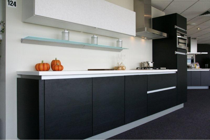 ... Paul Roescher Outlet  Moderne greeploze keuken (zwart) Y124 [34232